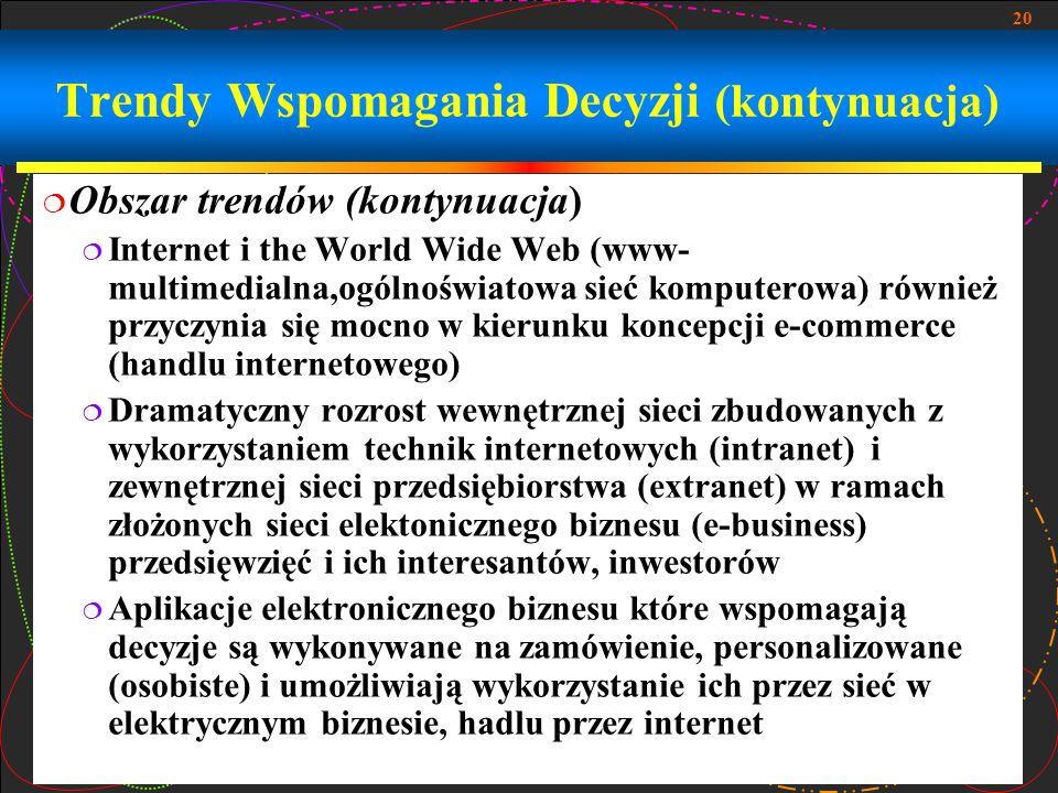 20 Trendy Wspomagania Decyzji (kontynuacja)  Obszar trendów (kontynuacja)  Internet i the World Wide Web (www- multimedialna,ogólnoświatowa sieć kom