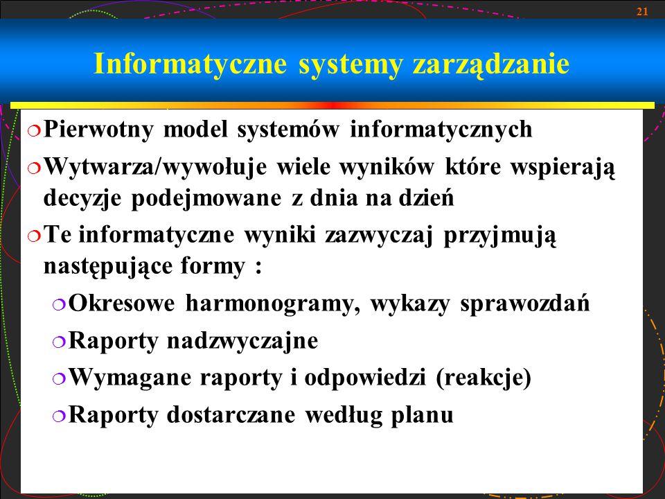 21 Informatyczne systemy zarządzanie  Pierwotny model systemów informatycznych  Wytwarza/wywołuje wiele wyników które wspierają decyzje podejmowane