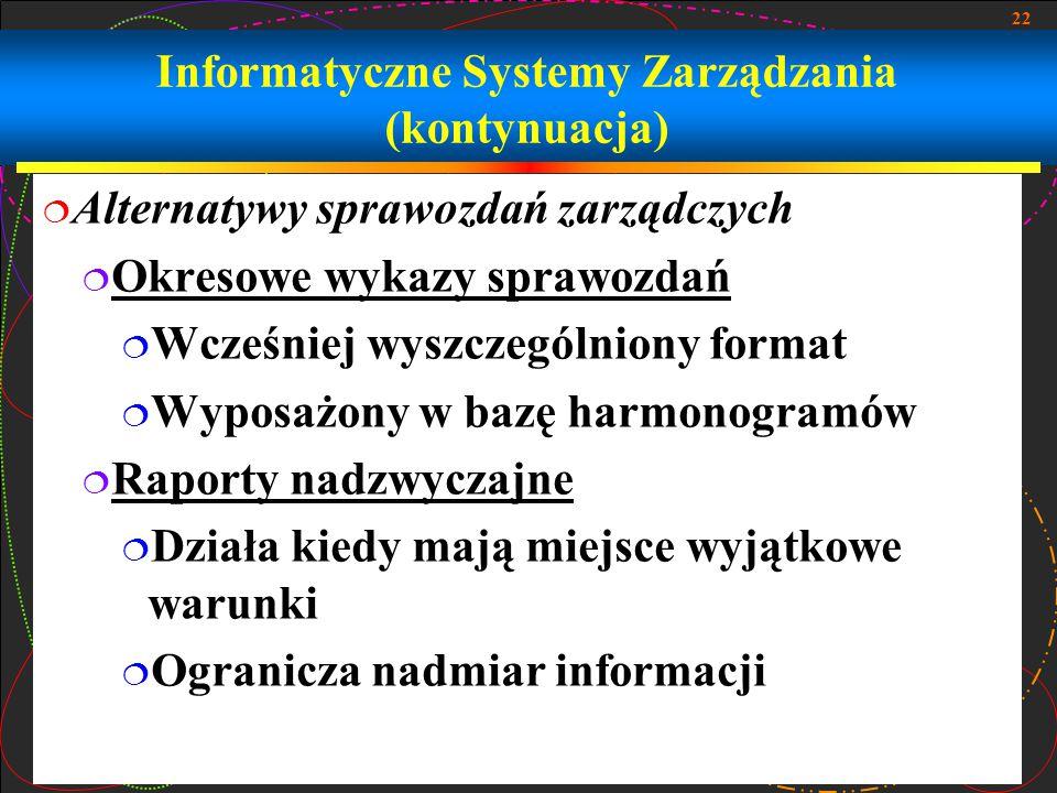 22 Informatyczne Systemy Zarządzania (kontynuacja)  Alternatywy sprawozdań zarządczych  Okresowe wykazy sprawozdań  Wcześniej wyszczególniony forma