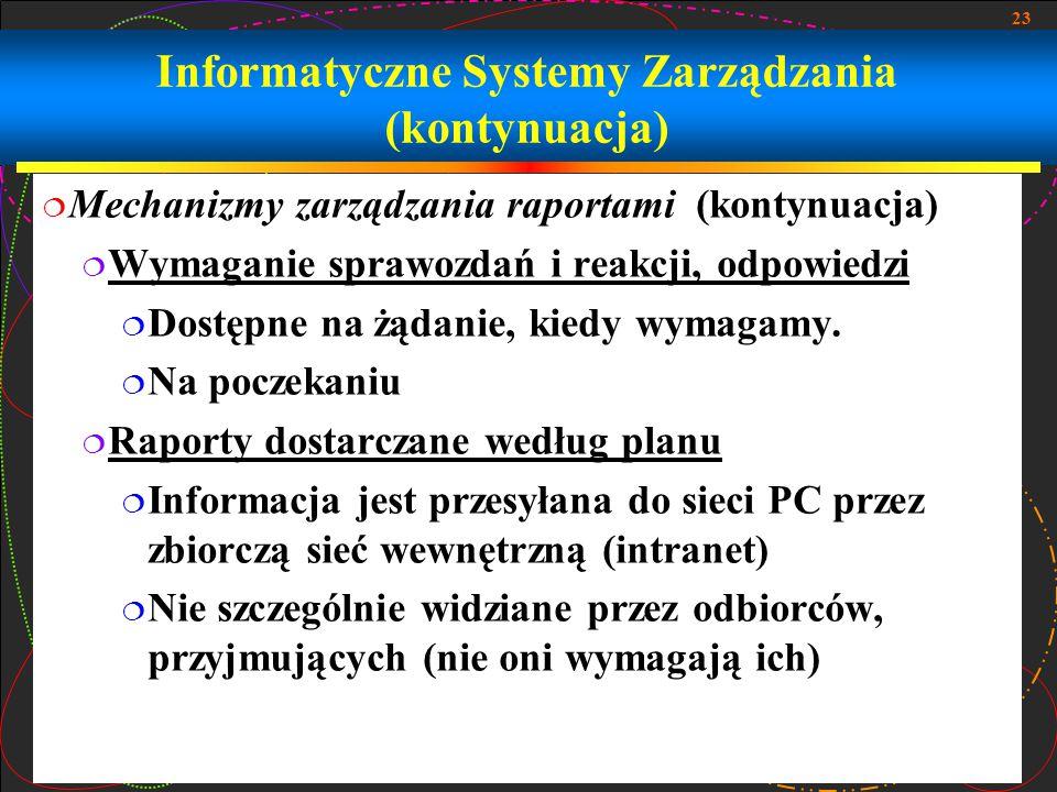 23 Informatyczne Systemy Zarządzania (kontynuacja)  Mechanizmy zarządzania raportami (kontynuacja)  Wymaganie sprawozdań i reakcji, odpowiedzi  Dos
