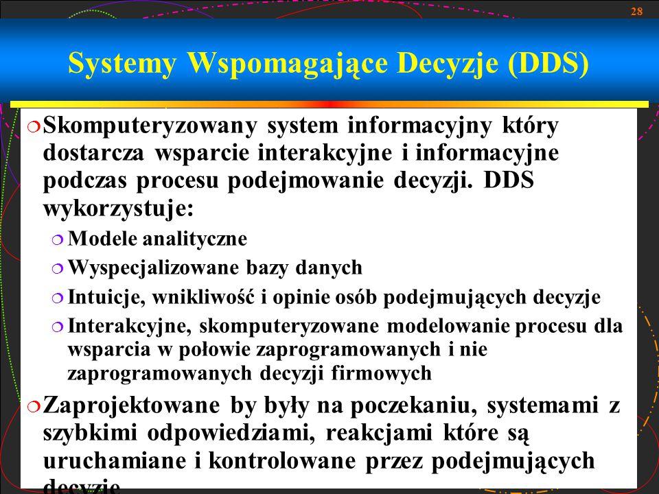 28 Systemy Wspomagające Decyzje (DDS)  Skomputeryzowany system informacyjny który dostarcza wsparcie interakcyjne i informacyjne podczas procesu pode