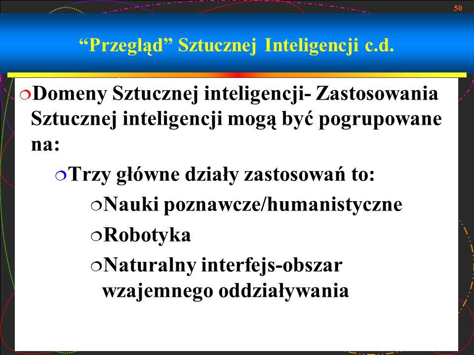 """50 """"Przegląd"""" Sztucznej Inteligencji c.d.  Domeny Sztucznej inteligencji- Zastosowania Sztucznej inteligencji mogą być pogrupowane na:  Trzy główne"""