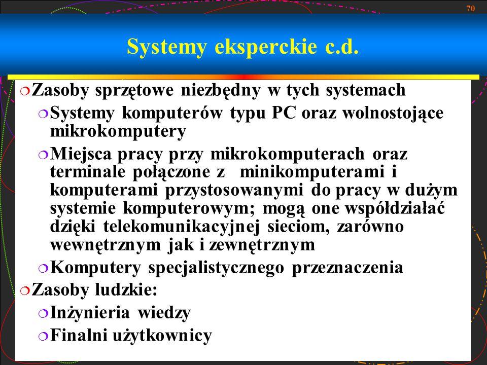 70 Systemy eksperckie c.d.  Zasoby sprzętowe niezbędny w tych systemach  Systemy komputerów typu PC oraz wolnostojące mikrokomputery  Miejsca pracy