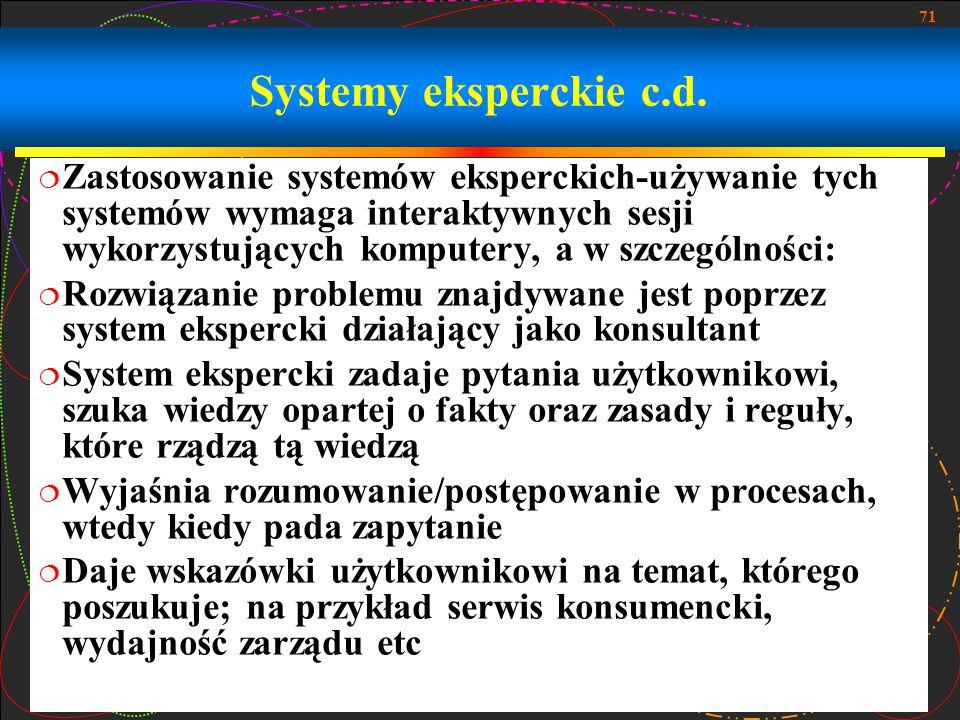 71 Systemy eksperckie c.d.  Zastosowanie systemów eksperckich-używanie tych systemów wymaga interaktywnych sesji wykorzystujących komputery, a w szcz