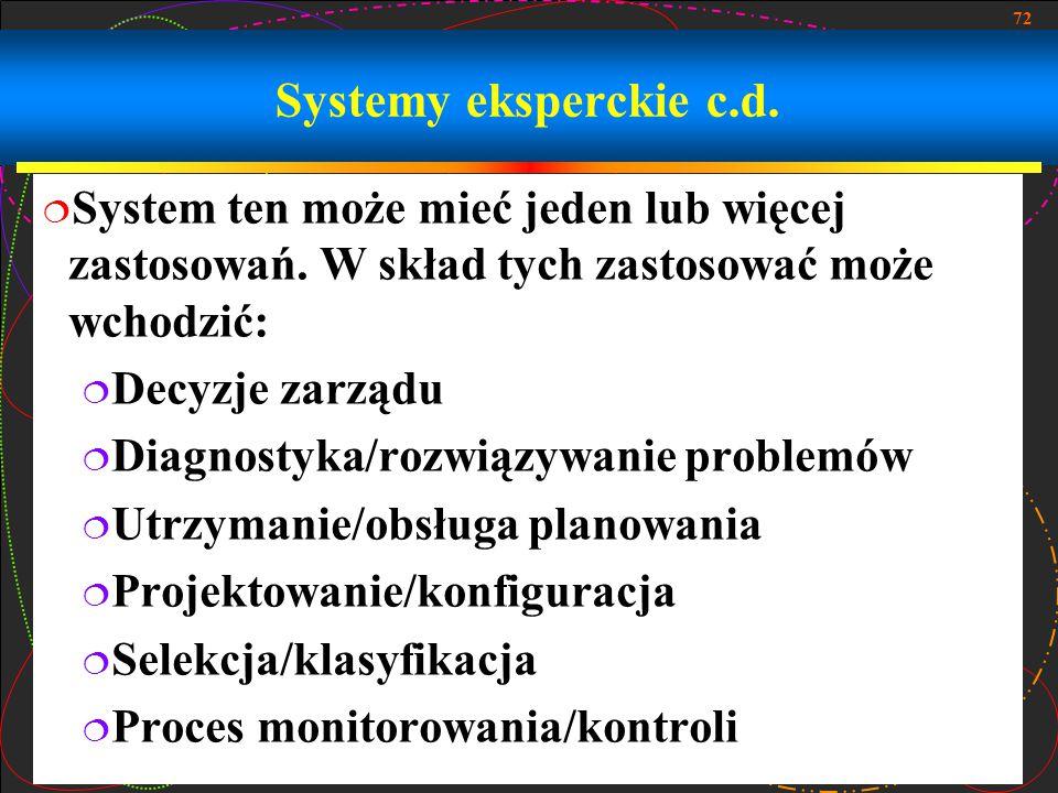 72 Systemy eksperckie c.d.  System ten może mieć jeden lub więcej zastosowań. W skład tych zastosować może wchodzić:  Decyzje zarządu  Diagnostyka/