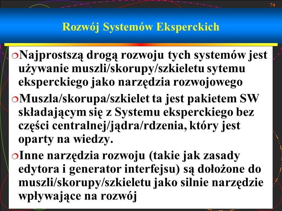 74 Rozwój Systemów Eksperckich  Najprostszą drogą rozwoju tych systemów jest używanie muszli/skorupy/szkieletu sytemu eksperckiego jako narzędzia roz