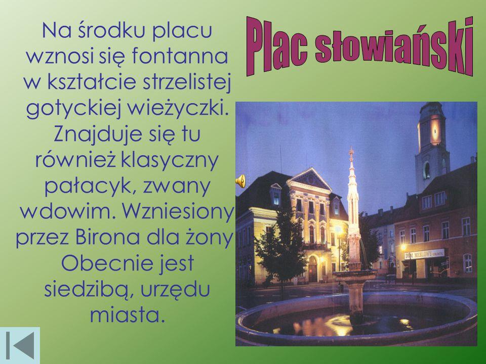 Na środku placu wznosi się fontanna w kształcie strzelistej gotyckiej wieżyczki. Znajduje się tu również klasyczny pałacyk, zwany wdowim. Wzniesiony p