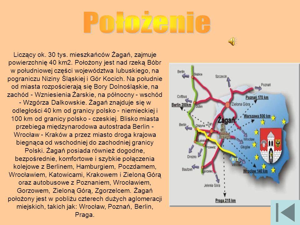 Liczący ok. 30 tys. mieszkańców Żagań, zajmuje powierzchnię 40 km2. Położony jest nad rzeką Bóbr w południowej części województwa lubuskiego, na pogra