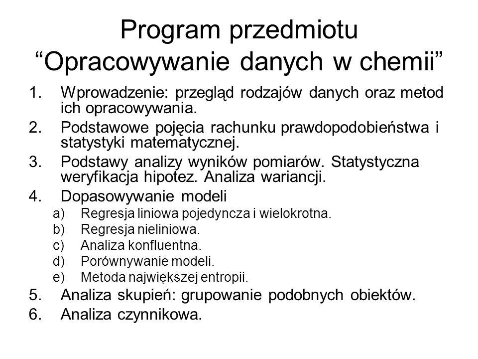 Program przedmiotu Opracowywanie danych w chemii 1.Wprowadzenie: przegląd rodzajów danych oraz metod ich opracowywania.