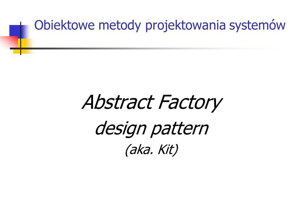 Obiektowe metody projektowania systemów Abstract Factory design pattern (aka. Kit)