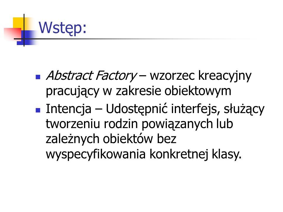 Wstęp: Abstract Factory – wzorzec kreacyjny pracujący w zakresie obiektowym Intencja – Udostępnić interfejs, służący tworzeniu rodzin powiązanych lub zależnych obiektów bez wyspecyfikowania konkretnej klasy.