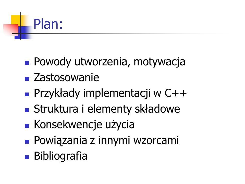 Plan: Powody utworzenia, motywacja Zastosowanie Przykłady implementacji w C++ Struktura i elementy składowe Konsekwencje użycia Powiązania z innymi wzorcami Bibliografia