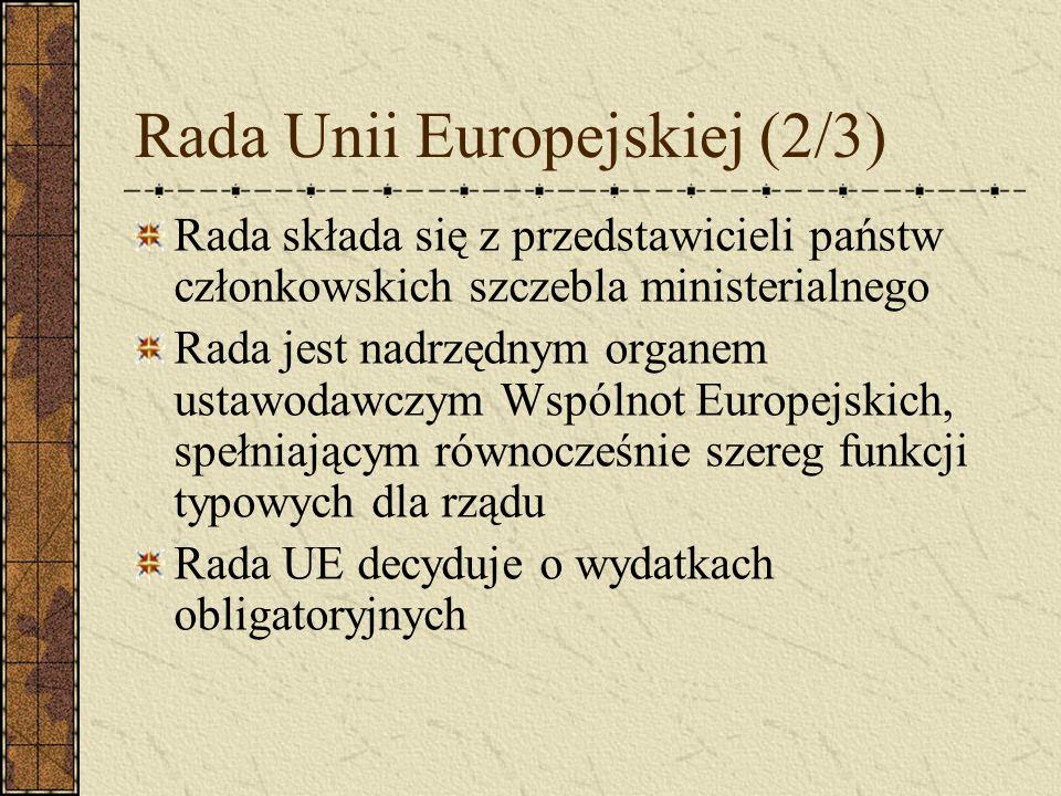 Rada Unii Europejskiej (2/3) Rada składa się z przedstawicieli państw członkowskich szczebla ministerialnego Rada jest nadrzędnym organem ustawodawczy