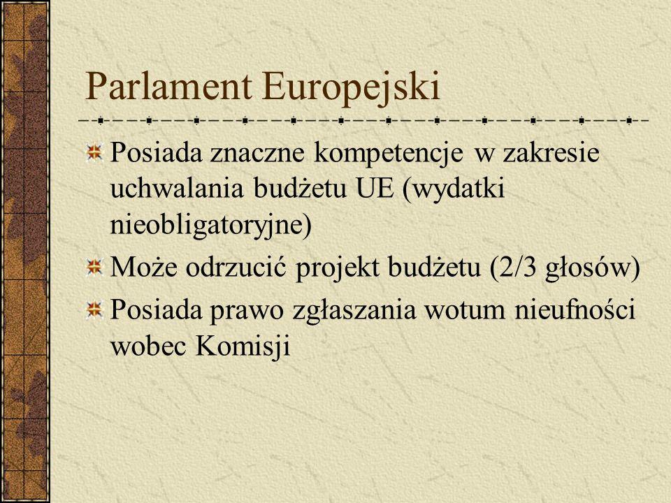 Parlament Europejski Posiada znaczne kompetencje w zakresie uchwalania budżetu UE (wydatki nieobligatoryjne) Może odrzucić projekt budżetu (2/3 głosów