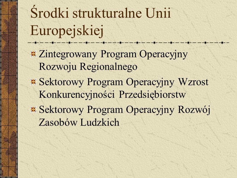 Środki strukturalne Unii Europejskiej Zintegrowany Program Operacyjny Rozwoju Regionalnego Sektorowy Program Operacyjny Wzrost Konkurencyjności Przeds