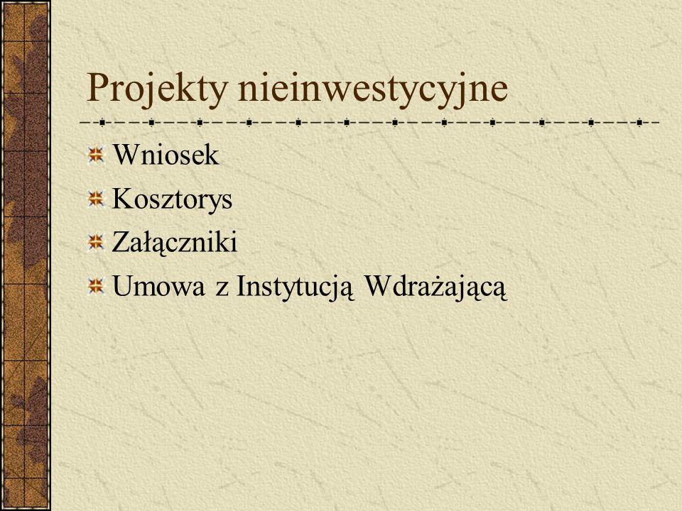 Projekty nieinwestycyjne Wniosek Kosztorys Załączniki Umowa z Instytucją Wdrażającą