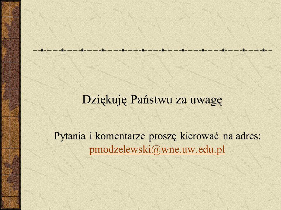 Dziękuję Państwu za uwagę Pytania i komentarze proszę kierować na adres: pmodzelewski@wne.uw.edu.pl pmodzelewski@wne.uw.edu.pl