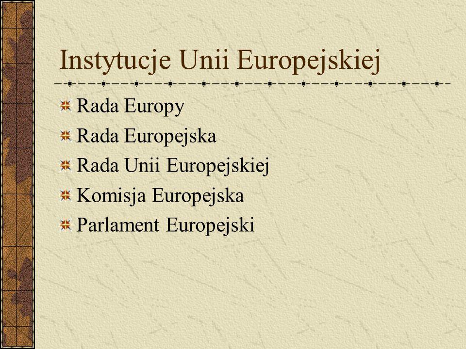 Instytucje Unii Europejskiej Rada Europy Rada Europejska Rada Unii Europejskiej Komisja Europejska Parlament Europejski