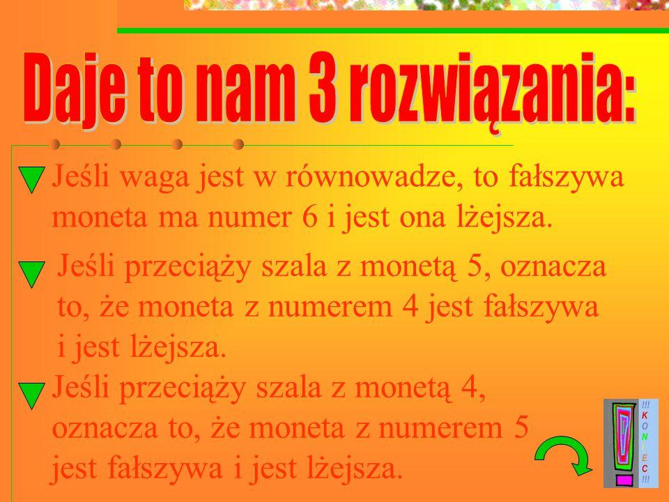 Jeśli waga jest w równowadze, to fałszywa moneta ma numer 6 i jest ona lżejsza.