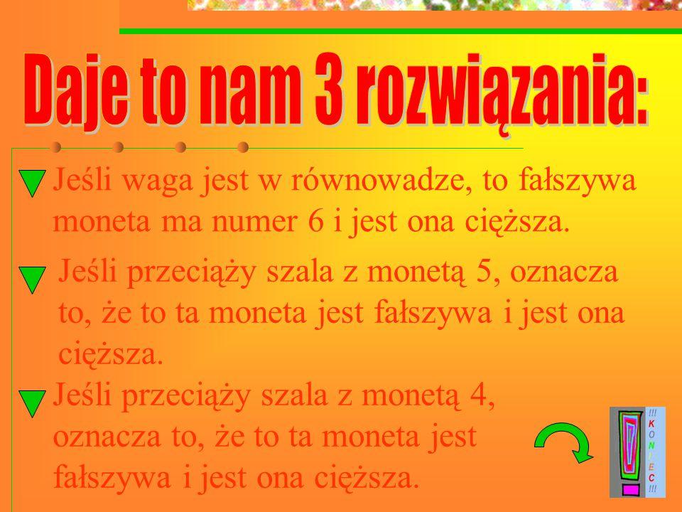 Jeśli waga jest w równowadze, to fałszywa moneta ma numer 6 i jest ona cięższa.