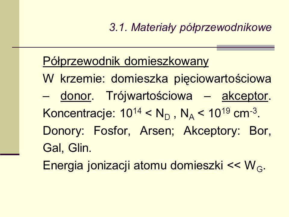 3.1. Materiały półprzewodnikowe Półprzewodnik domieszkowany W krzemie: domieszka pięciowartościowa – donor. Trójwartościowa – akceptor. Koncentracje: