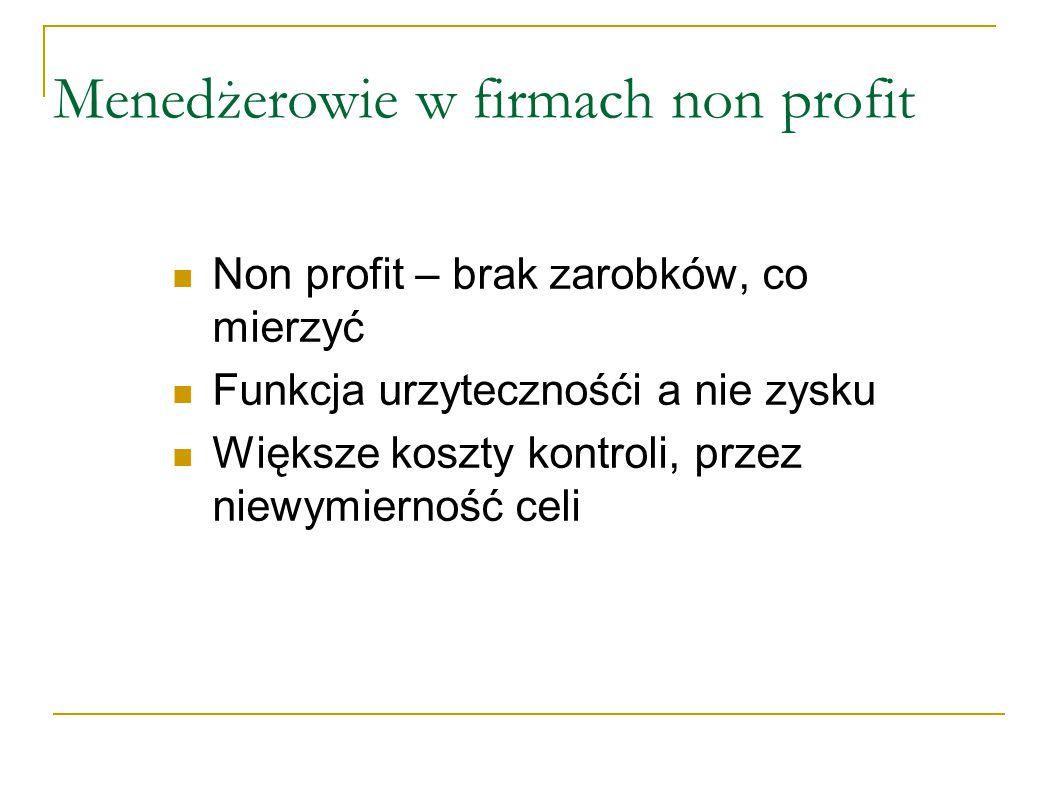Menedżerowie w firmach non profit Non profit – brak zarobków, co mierzyć Funkcja urzytecznośći a nie zysku Większe koszty kontroli, przez niewymierność celi
