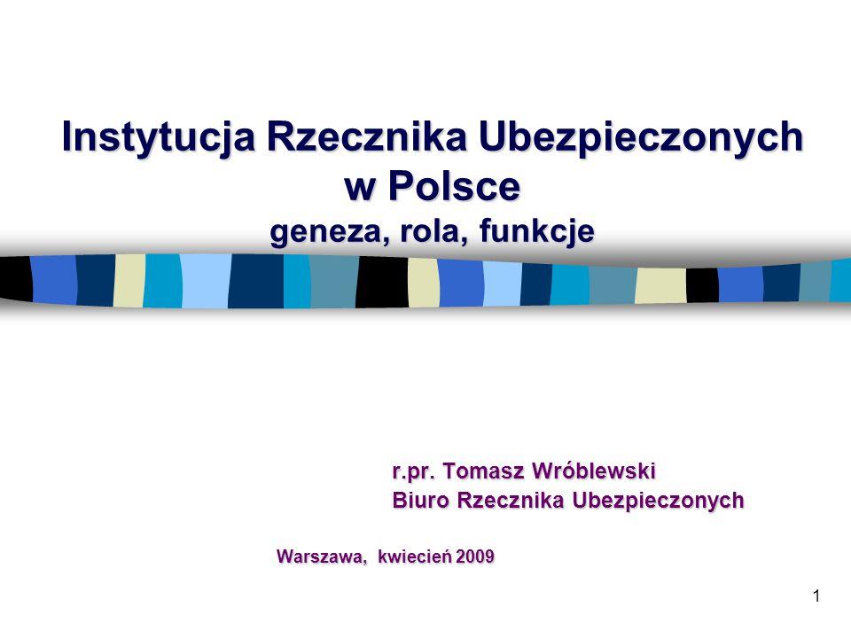 1 Instytucja Rzecznika Ubezpieczonych w Polsce geneza, rola, funkcje r.pr.