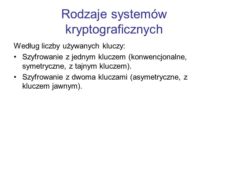 Rodzaje systemów kryptograficznych Według liczby używanych kluczy: Szyfrowanie z jednym kluczem (konwencjonalne, symetryczne, z tajnym kluczem). Szyfr