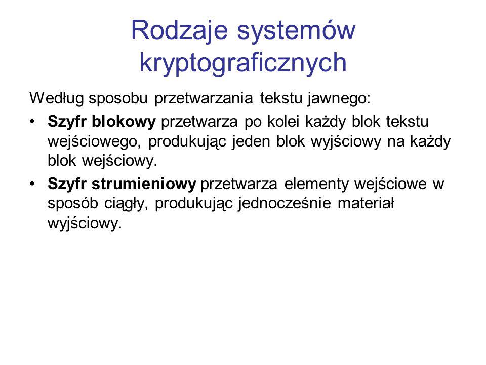 Rodzaje systemów kryptograficznych Według sposobu przetwarzania tekstu jawnego: Szyfr blokowy przetwarza po kolei każdy blok tekstu wejściowego, produ