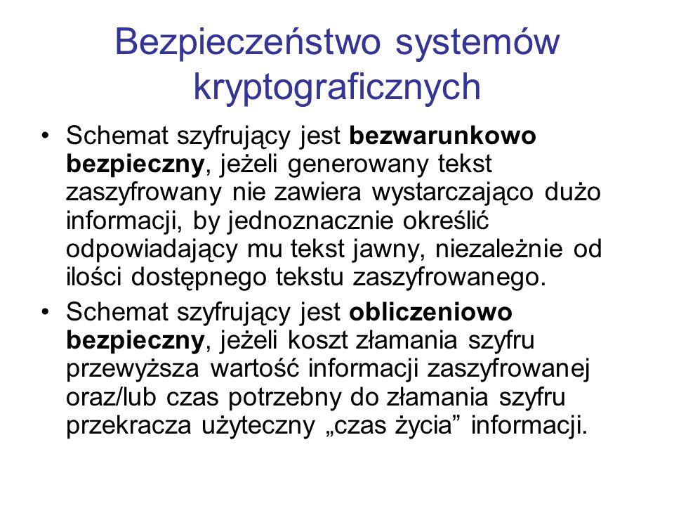 Schemat szyfrujący jest bezwarunkowo bezpieczny, jeżeli generowany tekst zaszyfrowany nie zawiera wystarczająco dużo informacji, by jednoznacznie okre
