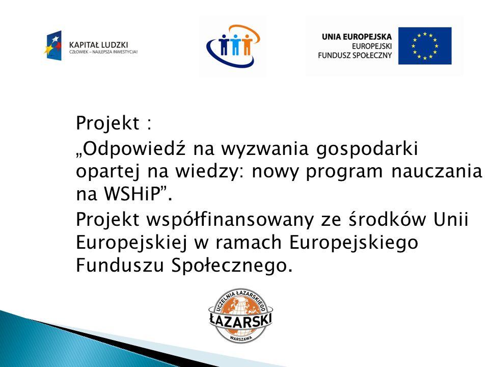 """Projekt : """"Odpowiedź na wyzwania gospodarki opartej na wiedzy: nowy program nauczania na WSHiP"""". Projekt współfinansowany ze środków Unii Europejskiej"""