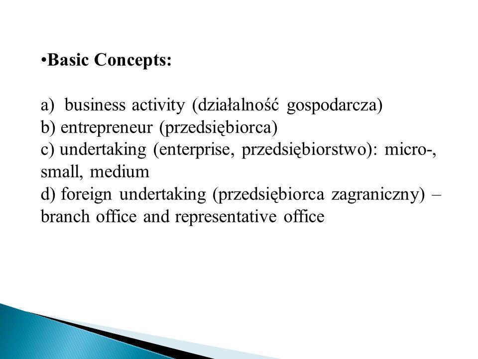 Basic Concepts: a) business activity (działalność gospodarcza) b) entrepreneur (przedsiębiorca) c) undertaking (enterprise, przedsiębiorstwo): micro-, small, medium d) foreign undertaking (przedsiębiorca zagraniczny) – branch office and representative office