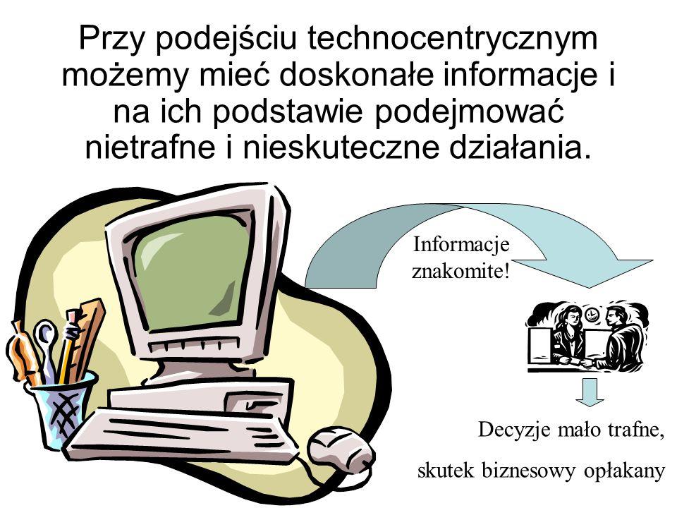 Klasyczne podejście do projektowania systemów informatycznych dla zarządzania było technocentryczne: Wkładano wiele troskliwego wysiłku w tworzenie i optymalizowanie coraz doskonalszych systemów komputerowych Natomiast ludzie byli tylko dodatkiem do mądrych maszyn i musieli się do nich dostosować