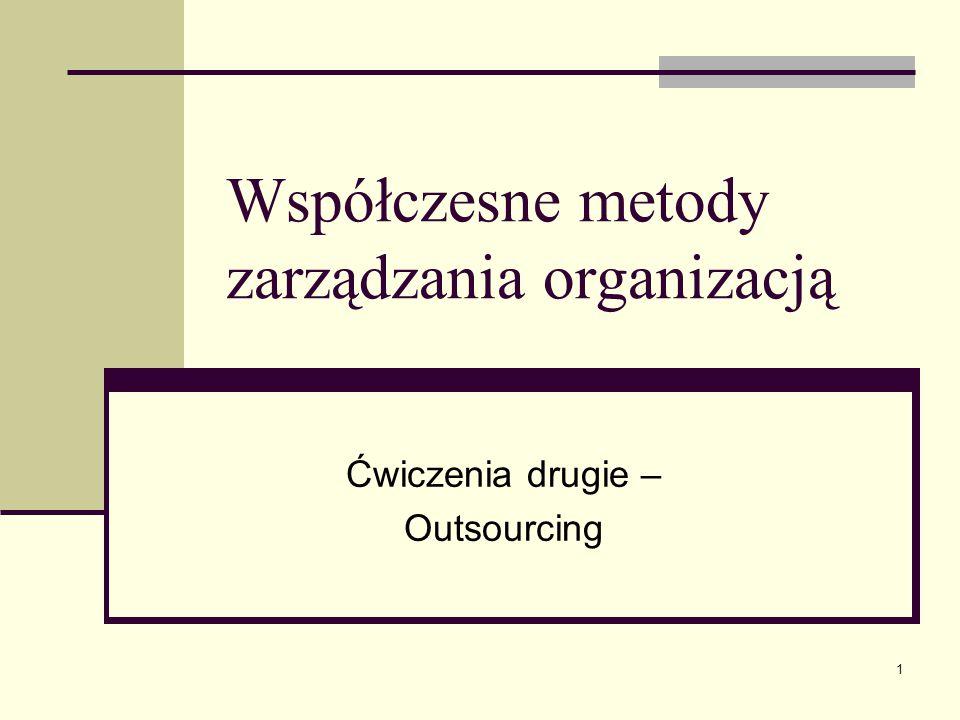 1 Współczesne metody zarządzania organizacją Ćwiczenia drugie – Outsourcing