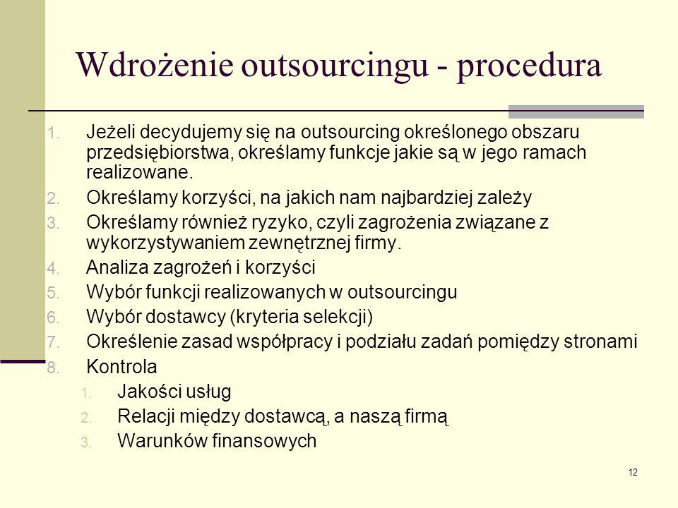 12 Wdrożenie outsourcingu - procedura 1. Jeżeli decydujemy się na outsourcing określonego obszaru przedsiębiorstwa, określamy funkcje jakie są w jego