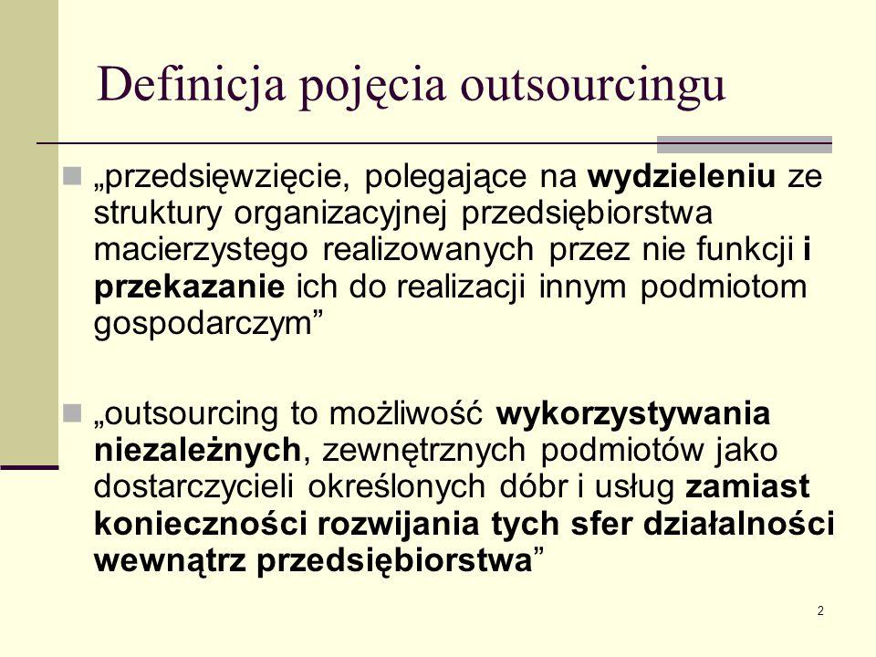 """2 Definicja pojęcia outsourcingu """"przedsięwzięcie, polegające na wydzieleniu ze struktury organizacyjnej przedsiębiorstwa macierzystego realizowanych"""