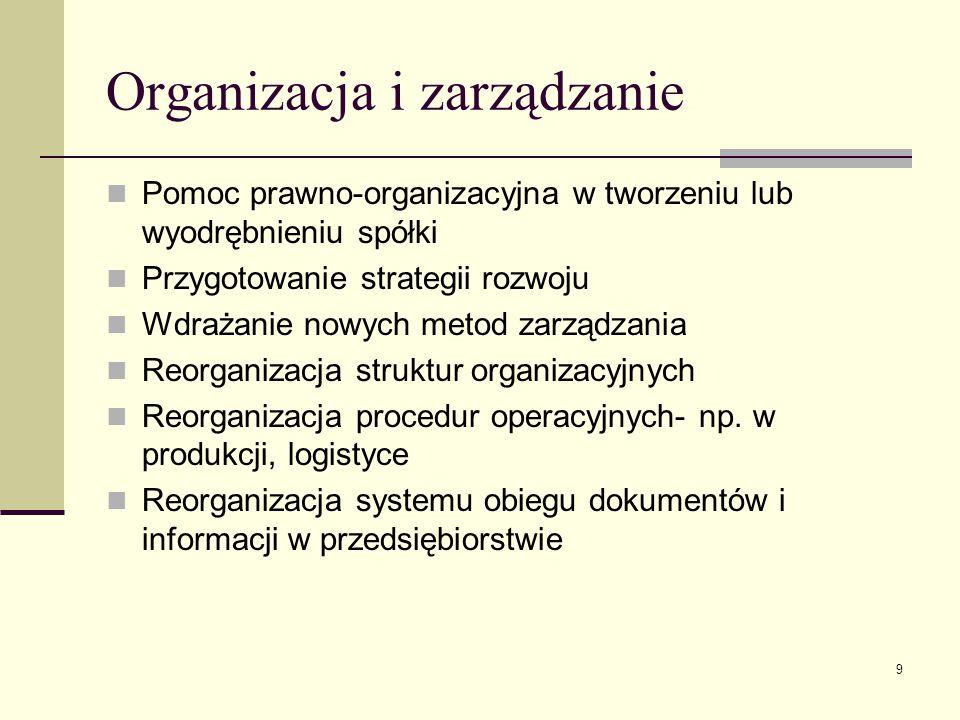 9 Organizacja i zarządzanie Pomoc prawno-organizacyjna w tworzeniu lub wyodrębnieniu spółki Przygotowanie strategii rozwoju Wdrażanie nowych metod zar