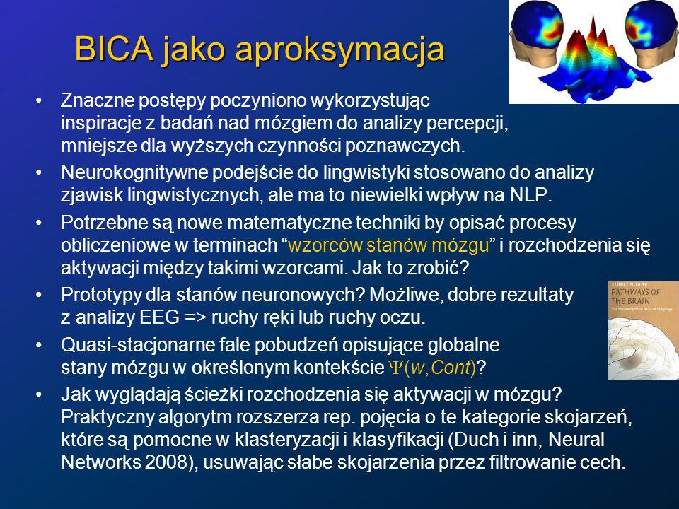 BICA jako aproksymacja Znaczne postępy poczyniono wykorzystując inspiracje z badań nad mózgiem do analizy percepcji, mniejsze dla wyższych czynności poznawczych.