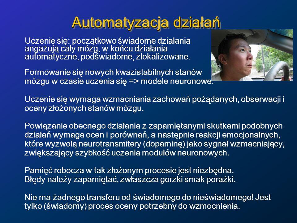 Automatyzacja działań Uczenie się: początkowo świadome działania angażują cały mózg, w końcu działania automatyczne, podświadome, zlokalizowane.