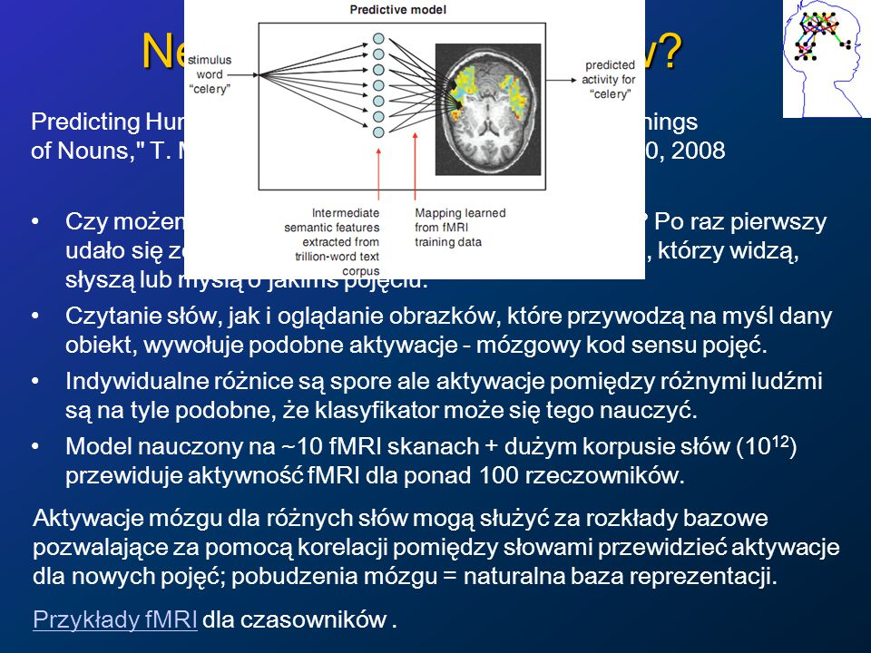 Modele funkcji mózgu Uwzględnia się wiele obszarów, np.
