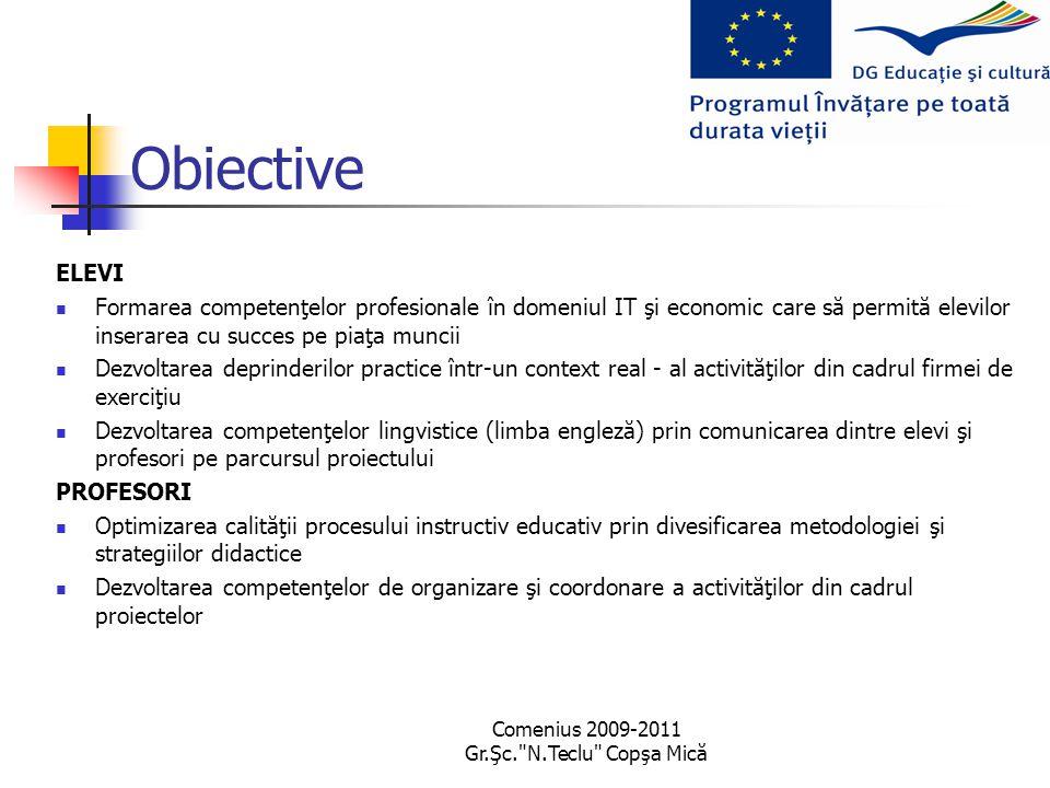 Comenius 2009-2011 Gr.Şc. N.Teclu Copşa Mică Obiective ELEVI Formarea competenţelor profesionale în domeniul IT şi economic care să permită elevilor inserarea cu succes pe piaţa muncii Dezvoltarea deprinderilor practice într-un context real - al activităţilor din cadrul firmei de exerciţiu Dezvoltarea competenţelor lingvistice (limba engleză) prin comunicarea dintre elevi şi profesori pe parcursul proiectului PROFESORI Optimizarea calităţii procesului instructiv educativ prin divesificarea metodologiei şi strategiilor didactice Dezvoltarea competenţelor de organizare şi coordonare a activităţilor din cadrul proiectelor