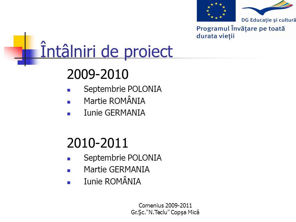 Comenius 2009-2011 Gr.Şc. N.Teclu Copşa Mică Întâlniri de proiect 2009-2010 Septembrie POLONIA Martie ROMÂNIA Iunie GERMANIA 2010-2011 Septembrie POLONIA Martie GERMANIA Iunie ROMÂNIA