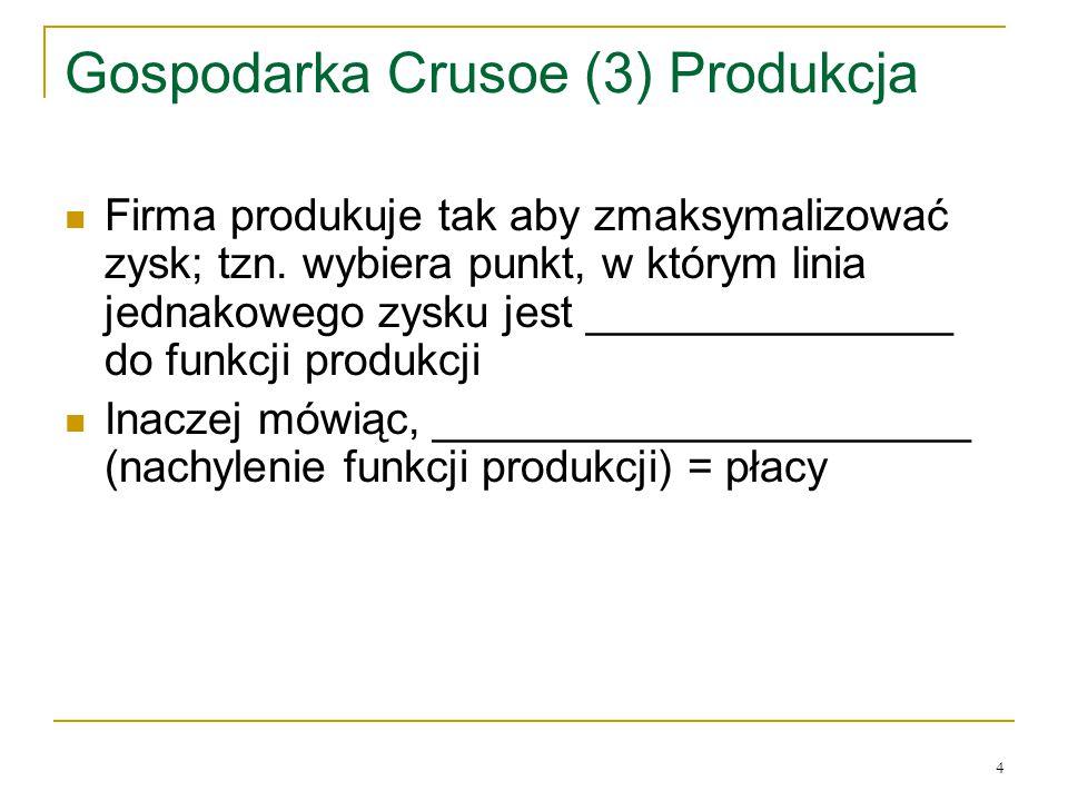 4 Gospodarka Crusoe (3) Produkcja Firma produkuje tak aby zmaksymalizować zysk; tzn.