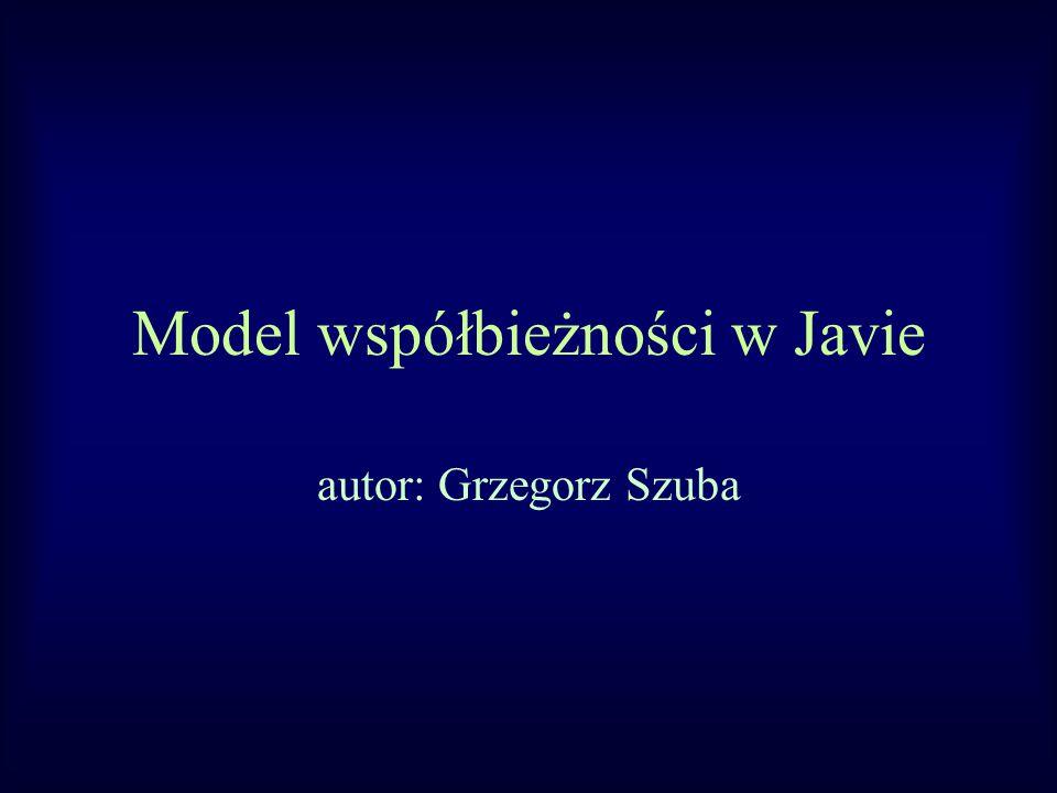 Model współbieżności w Javie autor: Grzegorz Szuba