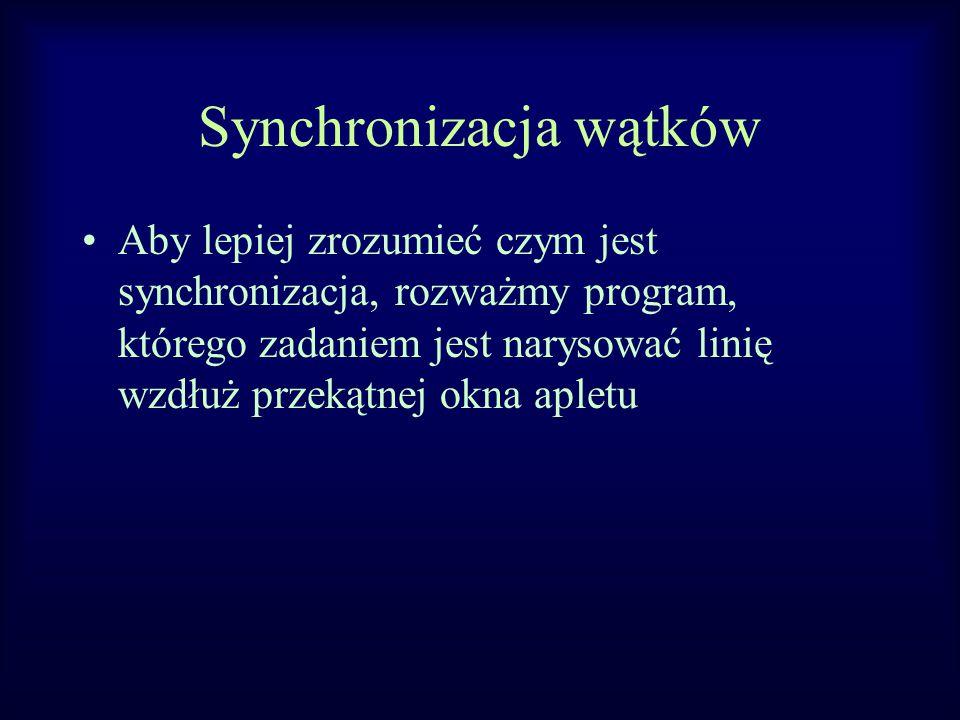 Synchronizacja wątków Aby lepiej zrozumieć czym jest synchronizacja, rozważmy program, którego zadaniem jest narysować linię wzdłuż przekątnej okna apletu