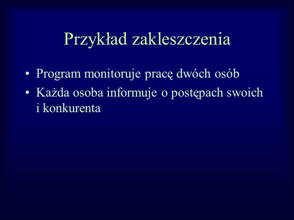 Przykład zakleszczenia Program monitoruje pracę dwóch osób Każda osoba informuje o postępach swoich i konkurenta