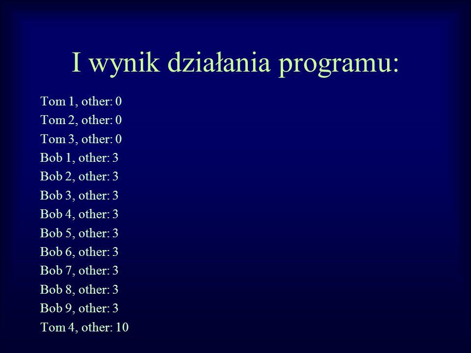 I wynik działania programu: Tom 1, other: 0 Tom 2, other: 0 Tom 3, other: 0 Bob 1, other: 3 Bob 2, other: 3 Bob 3, other: 3 Bob 4, other: 3 Bob 5, oth