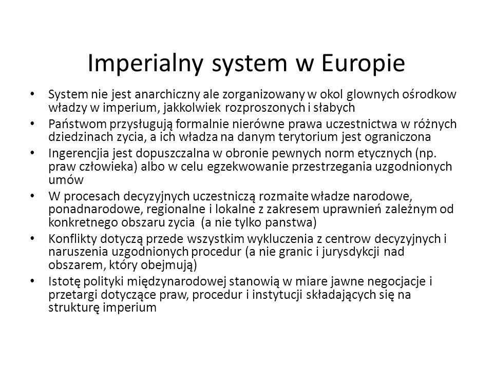 Imperialny system w Europie System nie jest anarchiczny ale zorganizowany w okol glownych ośrodkow władzy w imperium, jakkolwiek rozproszonych i słabych Państwom przysługują formalnie nierówne prawa uczestnictwa w różnych dziedzinach zycia, a ich władza na danym terytorium jest ograniczona Ingerencjia jest dopuszczalna w obronie pewnych norm etycznych (np.