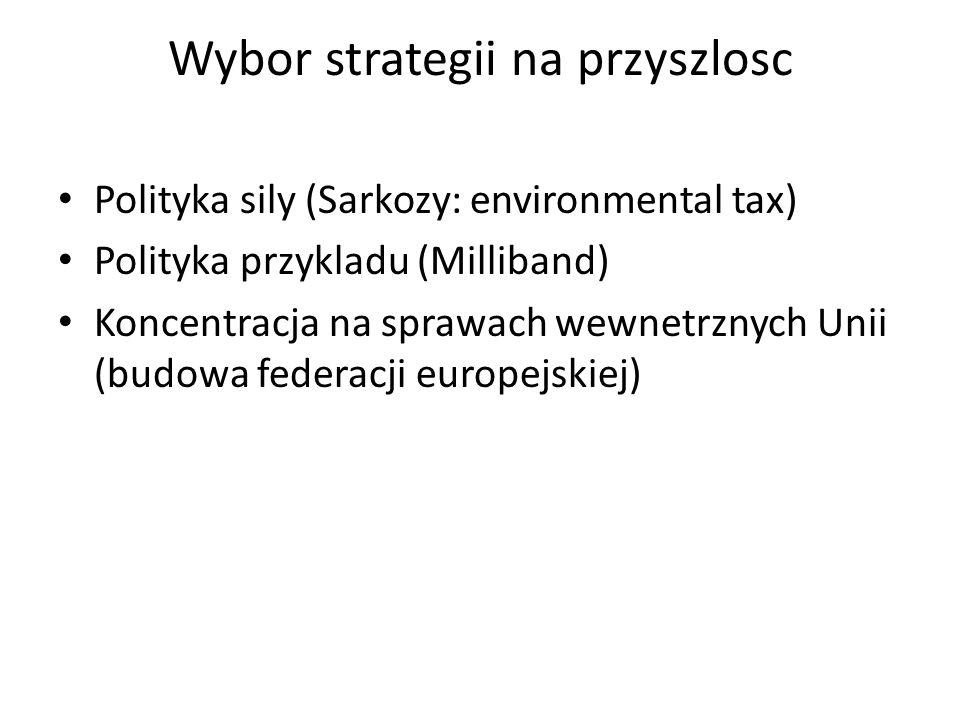 Wybor strategii na przyszlosc Polityka sily (Sarkozy: environmental tax) Polityka przykladu (Milliband) Koncentracja na sprawach wewnetrznych Unii (budowa federacji europejskiej)