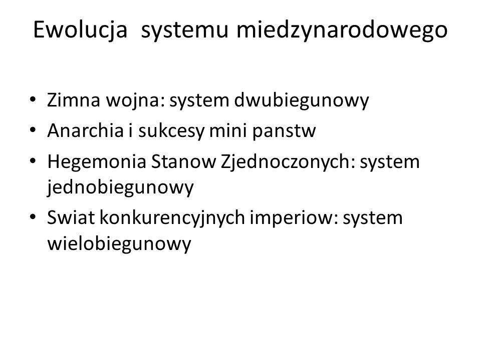 Ewolucja systemu miedzynarodowego Zimna wojna: system dwubiegunowy Anarchia i sukcesy mini panstw Hegemonia Stanow Zjednoczonych: system jednobiegunowy Swiat konkurencyjnych imperiow: system wielobiegunowy